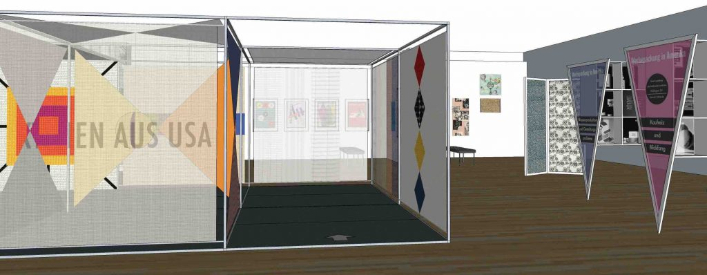 "Sketch-up rendering of a gallery view of the ""A Designed Life"" exhibition."