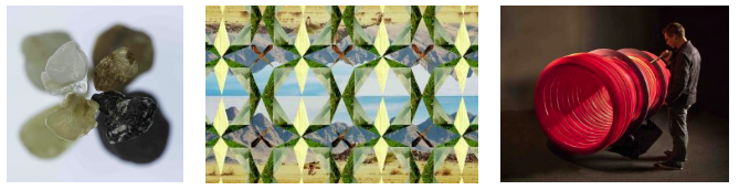 """Images (left to right): Corrie Francis Parks, Desires to Leave, 2017; Sarah G. Sharp,Whole Earth Systems: Double Mountain, 2015, Inkjet print from digital collage, Edition of 5, 20""""h x 30""""w; Eric Dyer, Implant, 2015, all photos courtesy of the artists"""