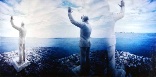 hazy view of three different views of the same miniture white plastic figurine of Eisenhower with arms raised in the air faces harbor in three different directions